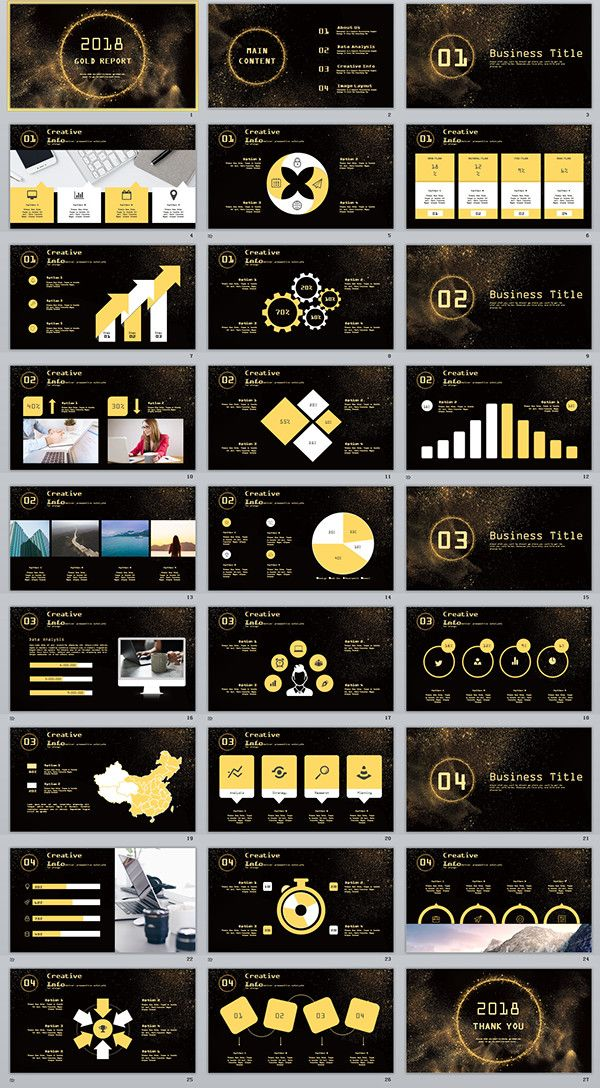 27 Glod Report Creative Powerpoint Template Powerpoint Templates