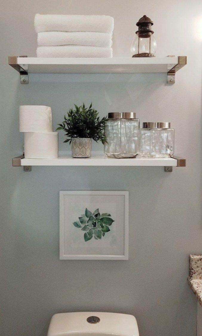 New Bathroom Shelves Ideas In 2020 Restroom Decor Small Bathroom Decor Diy Bathroom Storage