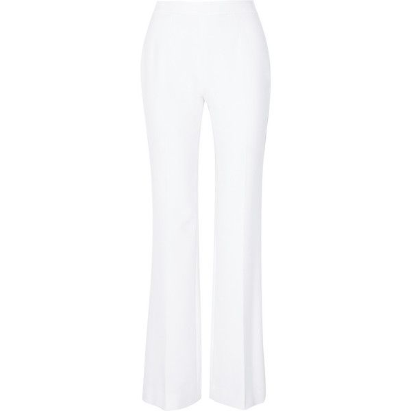 Diane von Furstenberg Joan stretch-crepe wide-leg pants ($410) ❤ liked on Polyvore featuring pants, trousers, white, wide-leg pants, long pants, white trousers, white wide leg pants and white pants