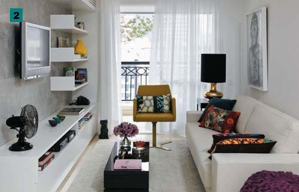 decoracao-sala-pequena: Modern Interiors Design, Small Apartments, Living Rooms, Small Living Room, Small Places, Livingroom, Small Spaces Living, Smallspaces, Apartments Design