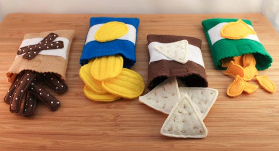 Felt Food Snacks - Potato Chips, Pretzels, Tortilla Chips, Fish Crackers. $30.00, via Etsy.