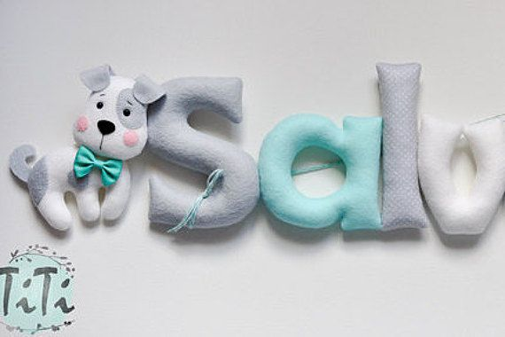 Felt baby name , nursery decor, Personalized Baby Nursery Name Wall Decor garland with felt animals ( Price per one letter)