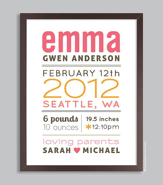 Custom Birth Print 11x14 Nursery Wall Art Print (baby name and birth stats) pink & orange. $36.00, via Etsy.