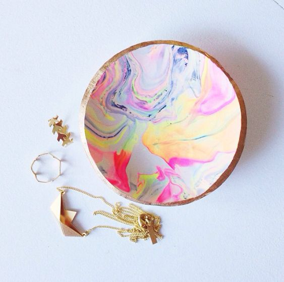 DIY marbled clay ring dish on A Beautiful Mess - perfect place to store your Shlomit Ofir jewelry