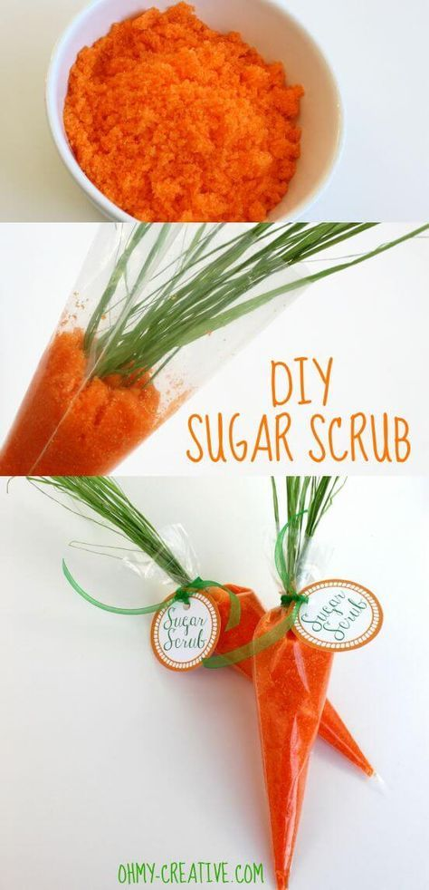 carrot sugar scrub made with ESSENTIAL OILS and other ideas for homemade Easter gifts