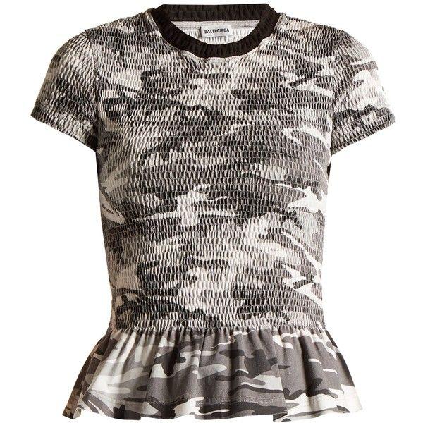 Round-neck camouflage-print wool T-shirt Balenciaga MATCHESFASHION.COM ($962) ❤ liked on Polyvore featuring tops, t-shirts, balenciaga t shirt, camoflage t shirt, wool t shirt, woolen t shirts and balenciaga