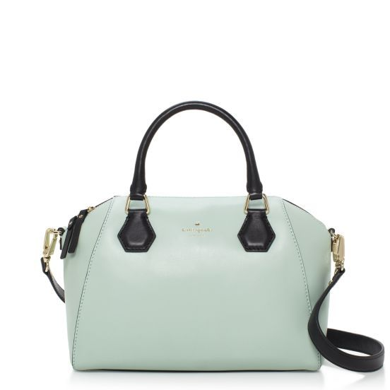 kate spade Catherine Street Pippa handbag in dusty mint with black handles and strap