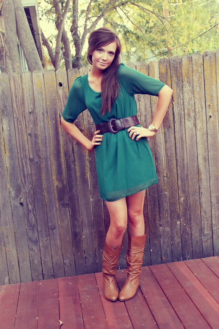 cute dress with belt and boots
