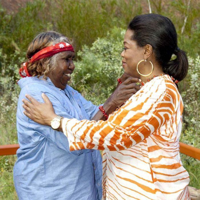 Oprah Winfrey received a necklace by Anangu Aboriginal elder Judy Trigger Uluru, central Australia, December 9, 2010. Photo: www.sdpmedia.com.au