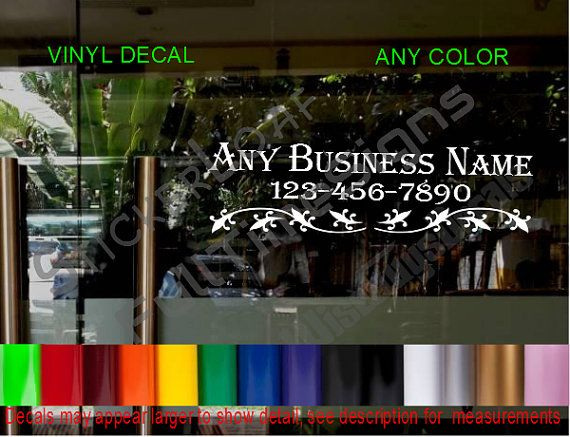 Store name custom window decal business shop by stickerloaf nail salon ideas pinterest custom window decals salon ideas and window