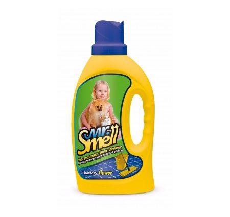 Mr. Smell Płyn do mycia podłóg kwiatowy 1 l. Skoncentrowany preparat Mr. Smell Płyn do mycia podłóg jest szczególnie polecany do stosowania w domach, w których mieszkają zwierzęta. Doskonale usuwa nawet najtrudniejsze zabrudzenia, nie niszcząc czyszczonej powierzchni. Pozostawia długotrwały, przyjemny dla ludzi i zwierząt kwiatowy zapach.