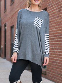 Grey Round Neck Batwing Striped Loose Long Sleeve Casual T-Shirt