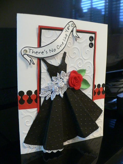 a dress card in red,black and white