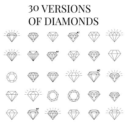 Vector Art : Diamond icons set, design More