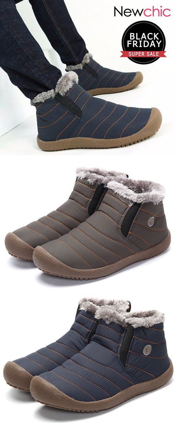00b37a209c60 What shoes should you wear when winter comes   50%off Men Large Size Warm  Fur Lining Waterproof Flat Slip On Snow Boots.  mens  boots  winter   footwear ...