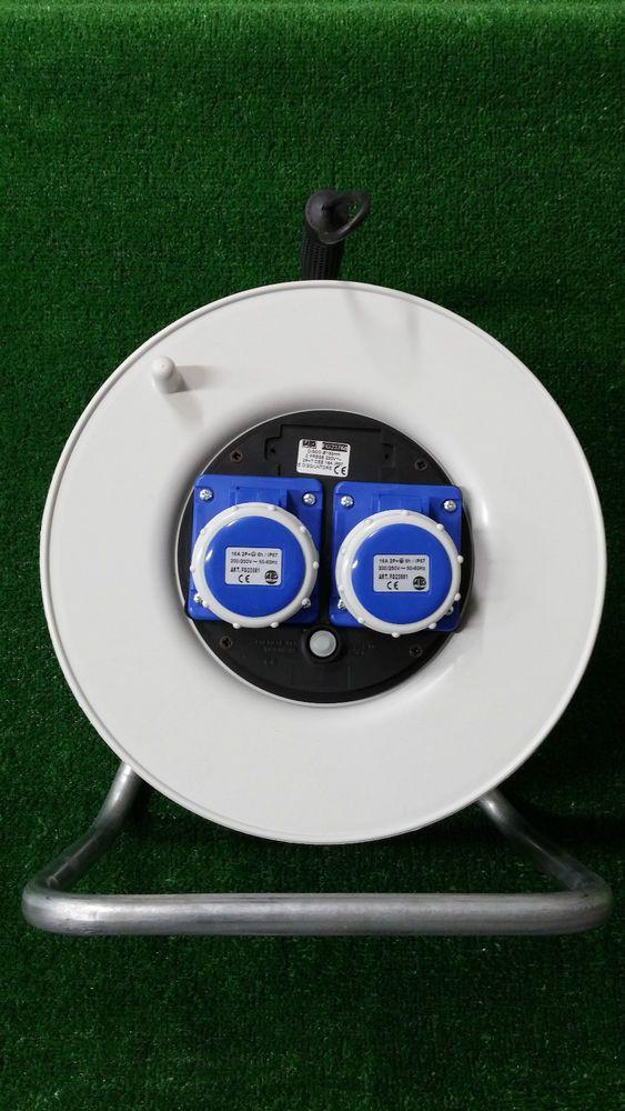 Avvolgicavo vuoto 2 prese industriali CEE 230V applicabile mt 50 di cavo