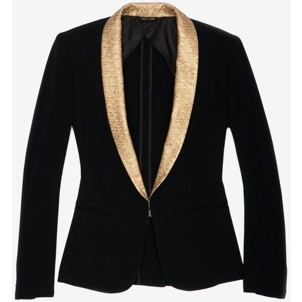 rag & bone Sliver Tuxedo Jacket with Gold Shawl Collar ($179) ❤ liked on Polyvore featuring outerwear, jackets, blazers, tops, coats, tux blazer, one button blazer, gold tuxedo jacket, lined jacket and tuxedo jacket