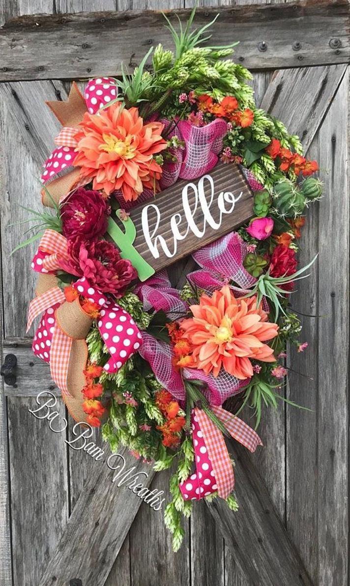 43 Charming Shabby Chic Spring Decor Ideas Diy Spring Wreath