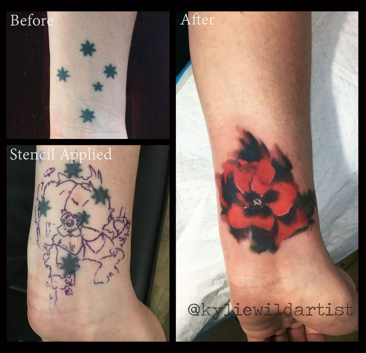 Southern Cross tattoo cover up with Poppy by Kylie Wild Heslop, Canberra, Australia based tattoo artist