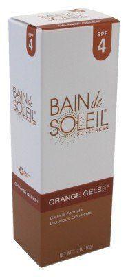 Bain De Soleil Orange gelee SPF#4 3.12 oz. Sunscreen by Bain De Soleil. $12.49. PABA-Free. With Luxurious Emollients. Leaves Skin Aglow. For A Deep, Moisture-Rich Tan. Eau de Toilette