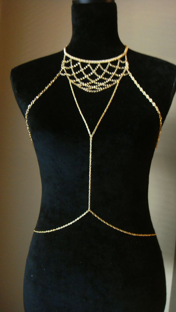 Bohemian Gold Chain Body Harness Body Chains Body by Ninnos, $80.00