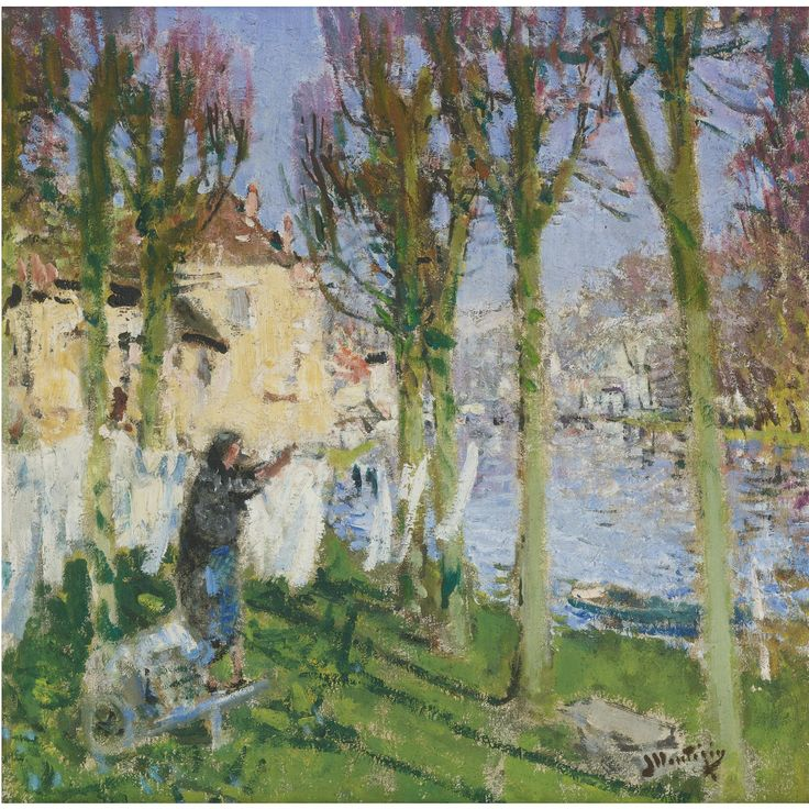 Pierre-Eugène Montézin (1874-1946), LAVANDIÈRE ÉTENDANT SON LINGE; Oil on canvas, 55x55 cm
