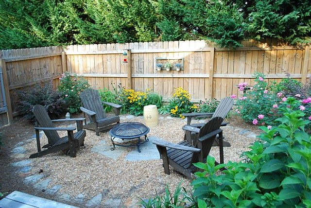 simple adirondack seating and firepit area