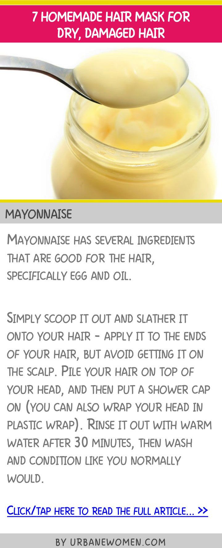 7 homemade hair mask for dry, damaged hair - Mayonnaise