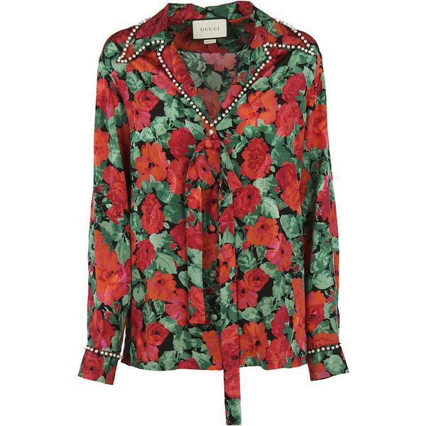 Floral Print Shirt ($1,385) ❤ liked on Polyvore featuring tops, multicolor, womenclothingshirtsshirts, red top, gucci shirt, long sleeve tops, floral shirts and red long sleeve shirt