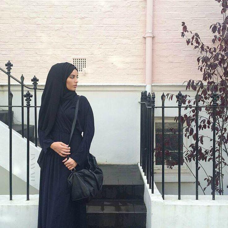 Pinned via Nuriyah O. Martinez | INAYAH | Navy Wrap Kimono #Abaya + Black Georgette #Hijab www.inayahcollection.com