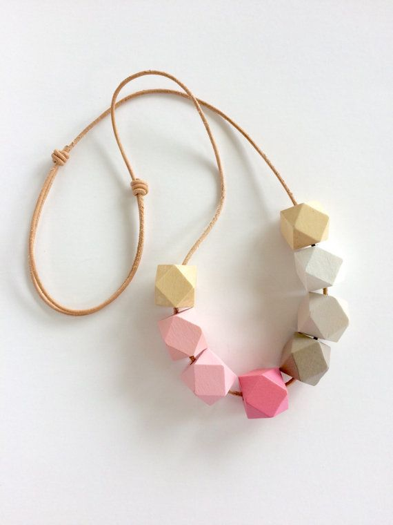 Hand painted geometric wooden bead necklace/ statement necklace/ faceted/ bridesmaid/ ombre/ pink/ natural wood/ grey/ hexagons/ pastel