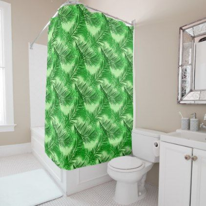 #Palm Leaf Print Emerald and Light Lime Green Shower Curtain - #Bathroom #Accessories #home #living