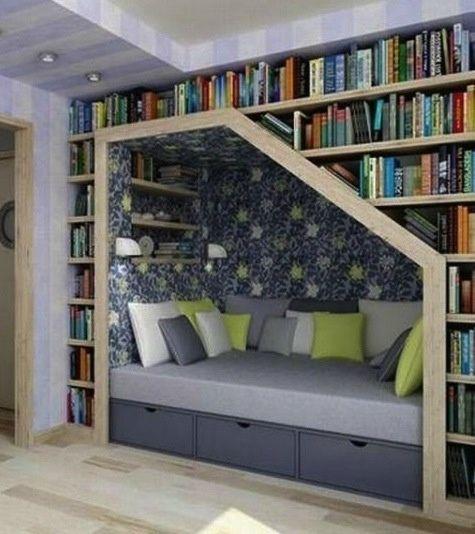 Mais espaço, menos bagunça! Chega de empilhar os livros pela casa! #bougue #reforma #design #livros