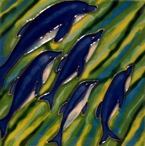 dolphins at play ceramic wall tile 4x4 coasterj. $14