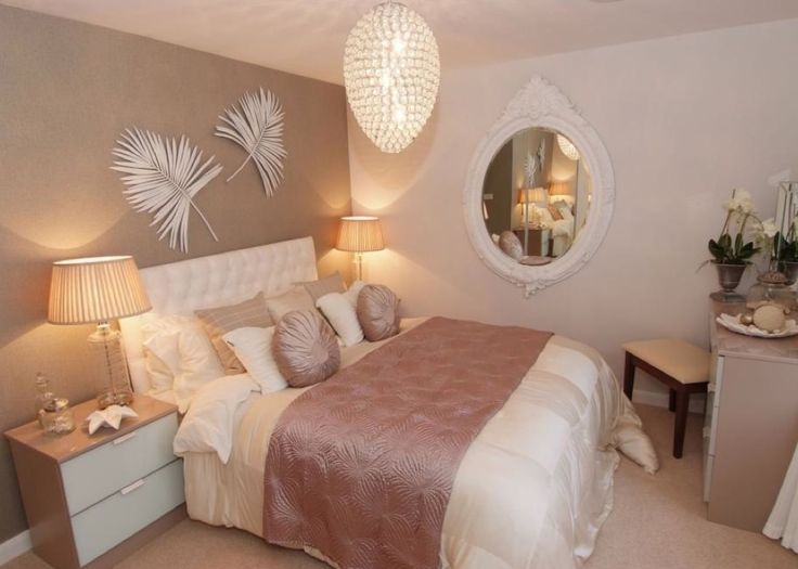 David Wilson Homes - Hadley at The Greens, Leicester Road, Hinckley.  Dusty Pink and pale oyster guest bedroom idea with white french painted mirror