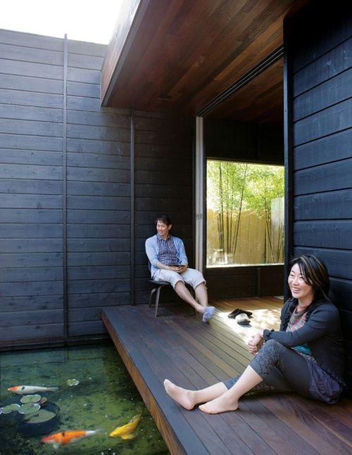 Koi pond dark wood indoor outdoor