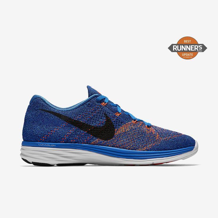 Chaussure de running Nike Flyknit Lunar 3 pas cher pour Homme Bleu  photo/Harmonie/Blanc/Noir
