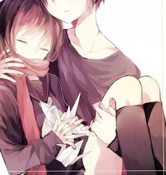 cute anime couple cuddling - Google Search