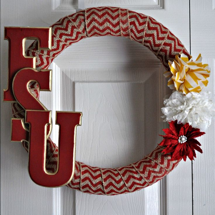 Collegiate Burlap Wreath Florida State By HelloSunshineHomeDec