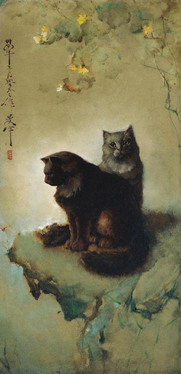 Lee Man Fong (1913-1988) - Cats, oil on masonite, 122 x 60 cm.