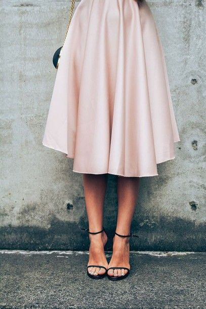 Skirt: tumblr midi pink sandals sandal heels high heel sandals black sandals minimalist shoes pastel