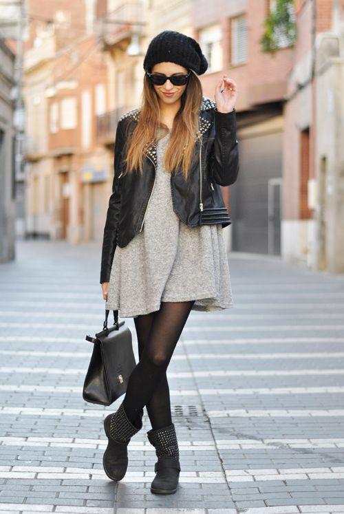 Robe en laine grise- perfecto cuir noir - rock style- leather jacket ♥ #lookfemme
