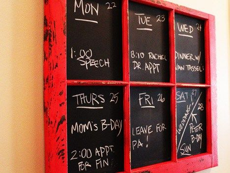 Red Kitchen Inspiration : DIY Calendar Menu Chalkboard
