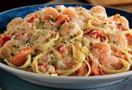 Shrimp Linguine Alfredo - picture is of a dish from Red Lobster..found a copycat recipe at http://www.food.com/recipe/red-lobster-shrimp-pasta...csb
