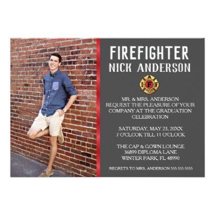 Trendy Firefighter School Graduation Announcement - invitations custom unique diy personalize occasions