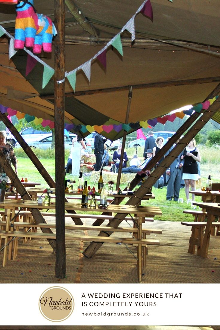 Not sure how to decorate a tipi or tent or wedding marquee? Get some inspiration from our previous guests at Newbold Ground: They decided on lots of colourful bunting and even have a paper Piñatas!