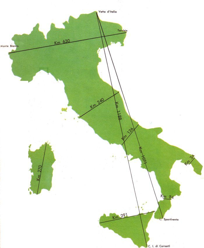 cartina italia muta con misure - I like this map for getting an idea of the distances within Italy.