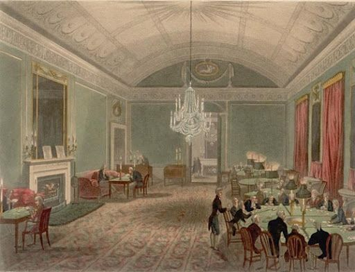 """The Great Subscription Room at Brooks's"" by Thomas Rowlandson and Augustus Pugin, 1808. Pitt was a member from the early 1780s, when Fox put him up; but after they parted company politically, I don't think he went there much."