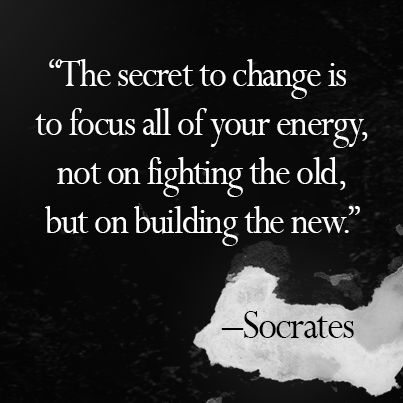 The secret to change is to focus all of your energy, not on fighting the past, but on building the new. Socrates