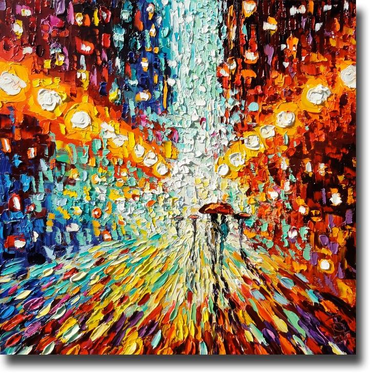 Oil painting rainy night art palette knife oil painting for Palette knife painting acrylic